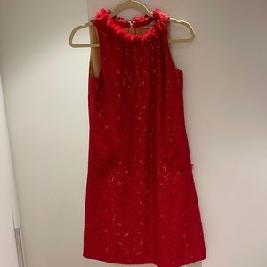 Red lace dress with detailed collar